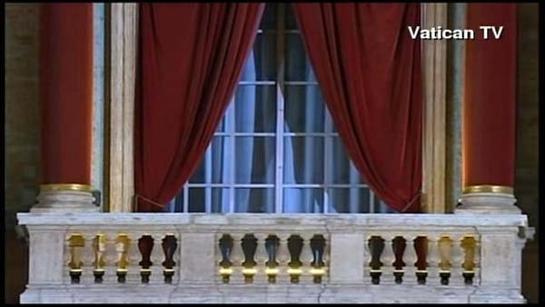 The new pope will greet the masses in St. Peter's Square. (Source: Vatican TV/CNN)