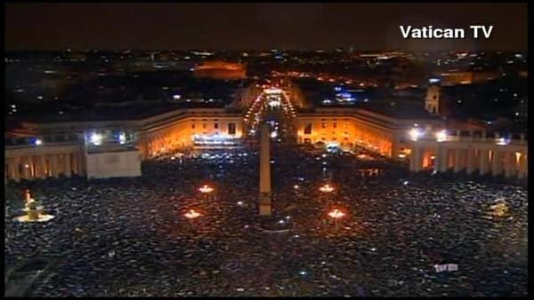 A crowd in St. Peter's Square awaits the new pope. (Source: Vatican TV/CNN)