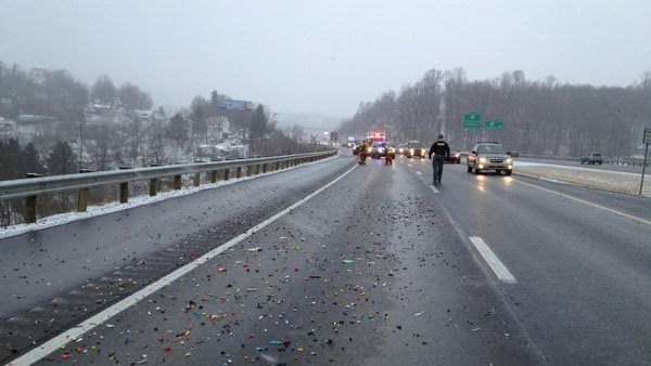 Thousands of Legos spilled on West Virginia interstate after a strap holding the container came loose. (Source: North Central and Central WV Working Fires Facebook)