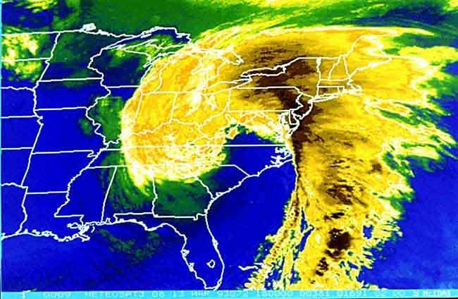 "Satellite image of the ""Storm of the Century"" on March 13, 1993. (Source: NOAA/Wikimedia Commons)"