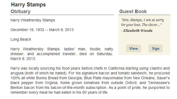 Harry Stamps' obituary told of the life of a &quot;ladies man, foodie, natty dresser and accomplished traveler.&quot; (Source: Legacy.com)