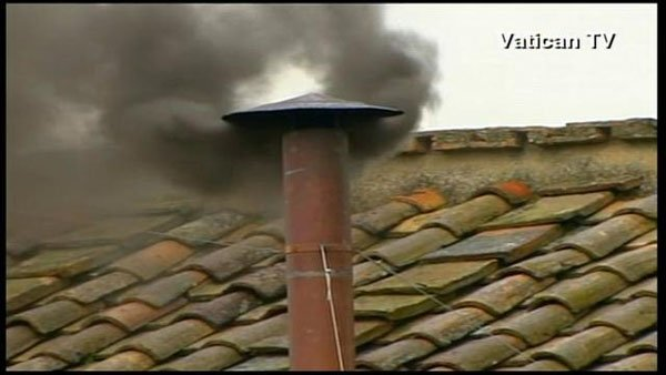 Wednesday morning, a thick, heavy, black smoke billowed from the Sistine Chapel chimney, indicating no pope had yet been chosen. (Source: Vatican TV/CNN)