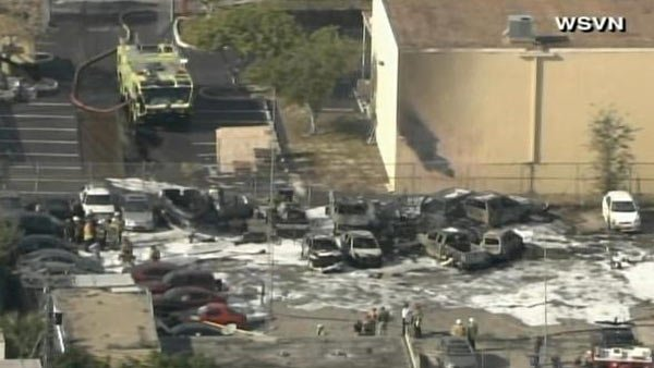 A small plane has crashed at an executive airport in Ft. Lauderdale, FL. (Source: WSVN/CNN)
