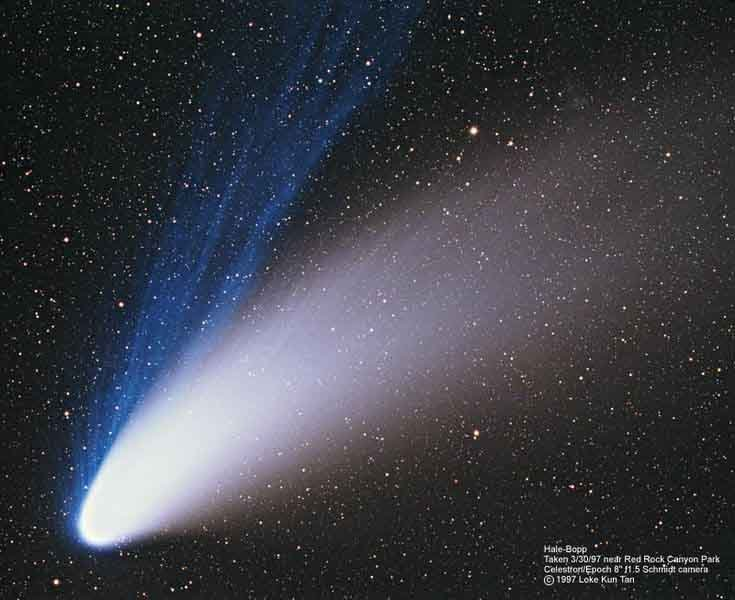 Comet Hale-Bopp made its closest approach to Earth on March 22, 1997. (Source: NASA/Wikimedia Commons)