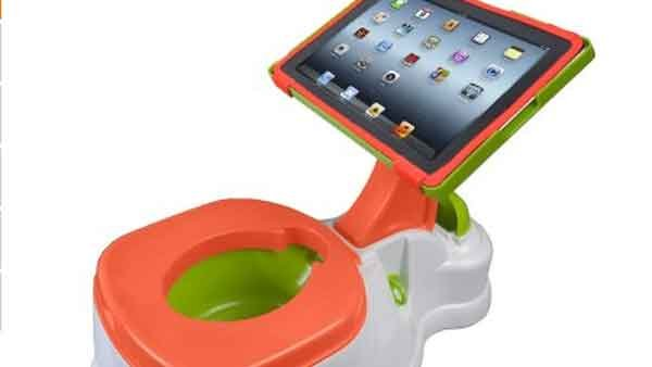 The iPotty is a toilet training potty that features an attached stand to securely hold an iPad for entertaining toddlers while they play with apps. (Source: Amazon.com)