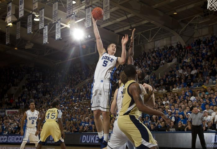 Duke's Mason Plumlee (5) averaged 17.2 points on 59.2 shooting with 10.2 rebounds per game. (Source: Duke Athletics))