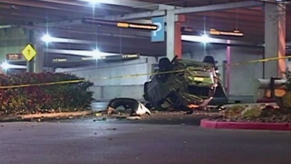 The car fell five stories from a mall parking garage. (KSAT/CNN)