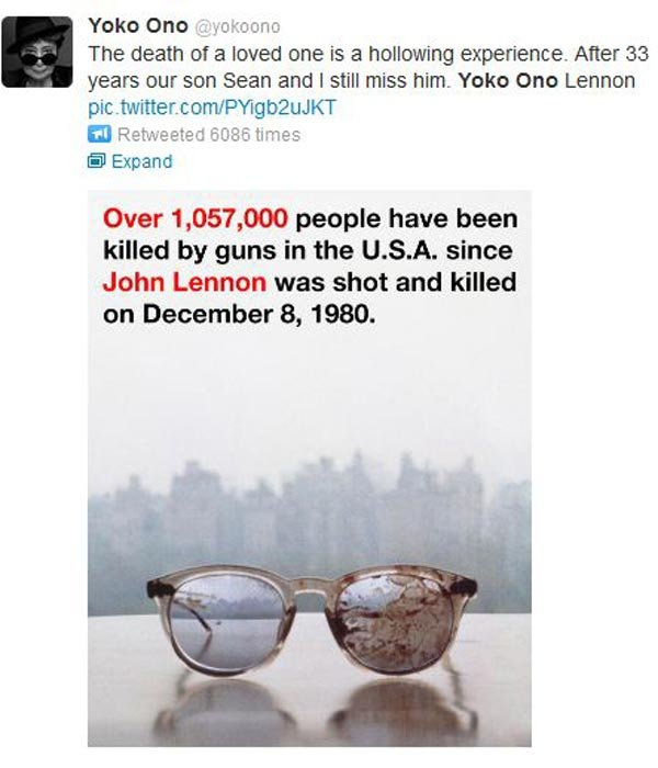 The picture of the bloody glasses John Lennon wore when he was shot and killed also appeared on the cover of an album Yoko Ono recorded six months after his death. (Source: Twitter/Yoko Ono)