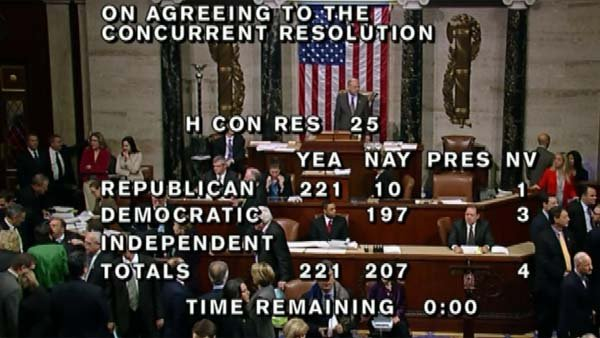 The House narrowly passes Paul Ryan's budget. (Source: HOUSE TV/ CNN)