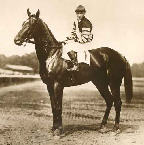 Man o'War set records in the Preakness Stakes and Belmont Stakes, but did not run in the Kentucky Derby. (Source: Wikimedia Commons)