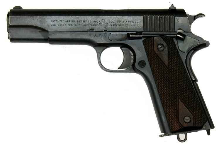 The M1911 45.-caliber handgun has been seen action in every U.S. war since it was adopted as the military's sidearm in 1911. (Source: adamsguns.com/Wiimedia Commons)