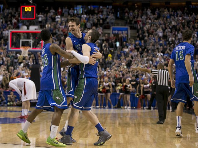 The FGCU Eagles celebrate as the clock expires in the game Sunday versus San Diego State. (Source: FGCU Athletics Department)