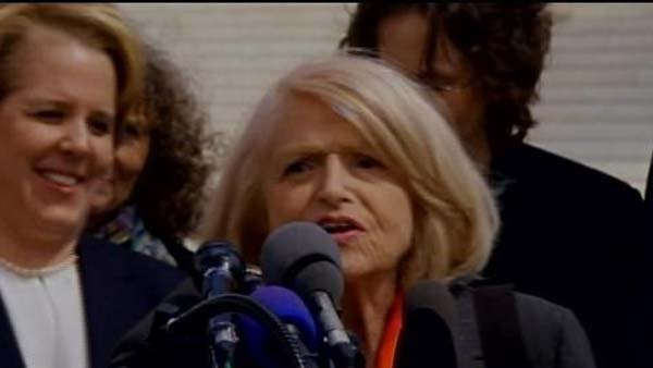 Edith Windsor speaks after the arguments were completed on the Defense of Marriage Act. (Source: CNN)