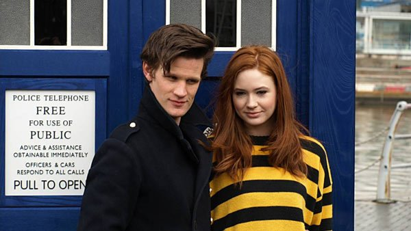 Eleventh Doctor Matt Smith, shown with former TARDIS inmate Amy Pond (Karen Gillan) will be the Doctor on duty for the show's 50th anniversary. (Source: Wikicommons/Stephen Broadhurst)