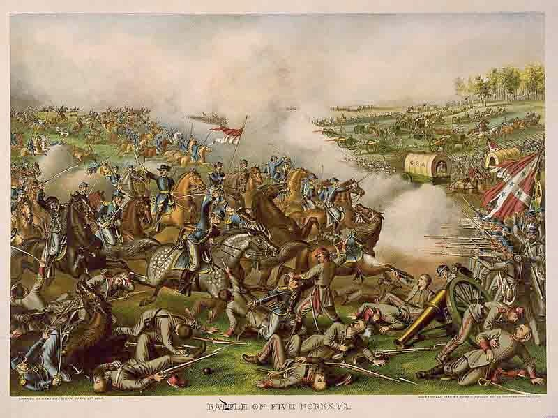 An illustration of the Battle of Five Forks, sometimes called the Confederate Waterloo. (Source: Wikimedia Commons)