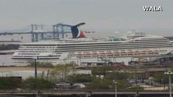 The Carnival Triumph broke free from its dock at about 1:30 p.m. CST Wednesday. (Source: WALA/CNN)