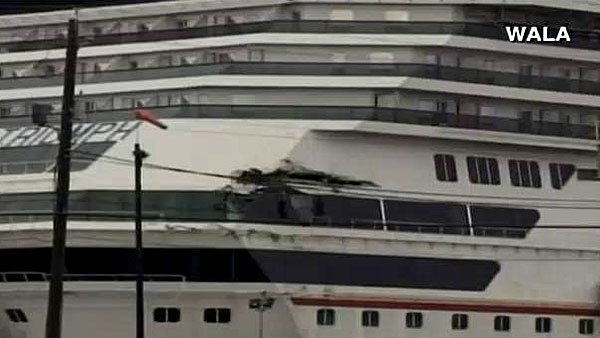 The Carnival Triumph sustained additional damage after it broke away from it's dock in Mobile, AL, where it was in for repairs. (Source: WALA/CNN)