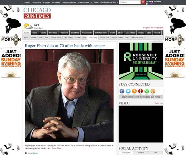 The front page of the Chicago Sun-Times has been dedicated to Roger Ebert, who worked for the paper for decades. (Source: Chicago Sun-Times)