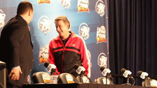 Louisville men's basketball coach Rick Pitino spoke with reporters Thursday in advance of his team's Final Four game against Wichita State. (Source: Matt Quillen/RNN)