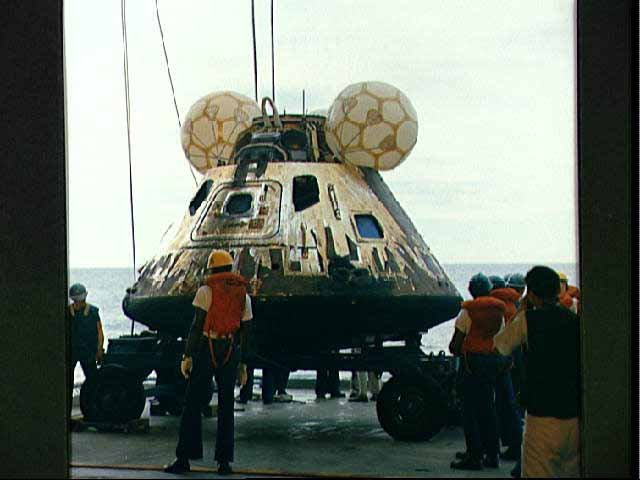 The crew capsule of Apollo 13 is recovered. (Source: NASA/Wikimedia Commons)