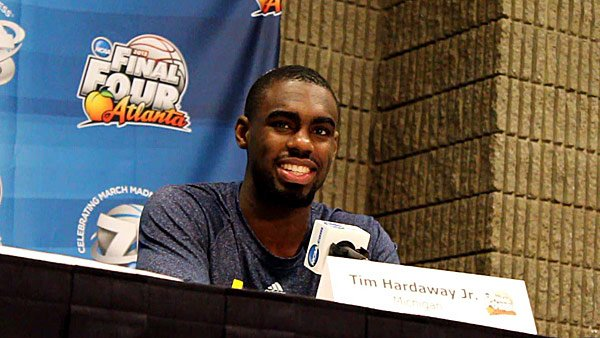 Tim Hardaway Jr. of the Wolverines speaks about his NBA All-Star father Sunday. (Matt Quillen/RNN)