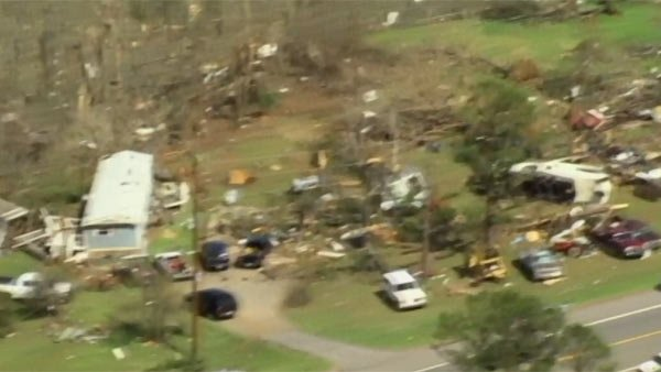 Tornadoes caused damages throughout the state of Arkansas Thursday. (Source: KATV/CNN)