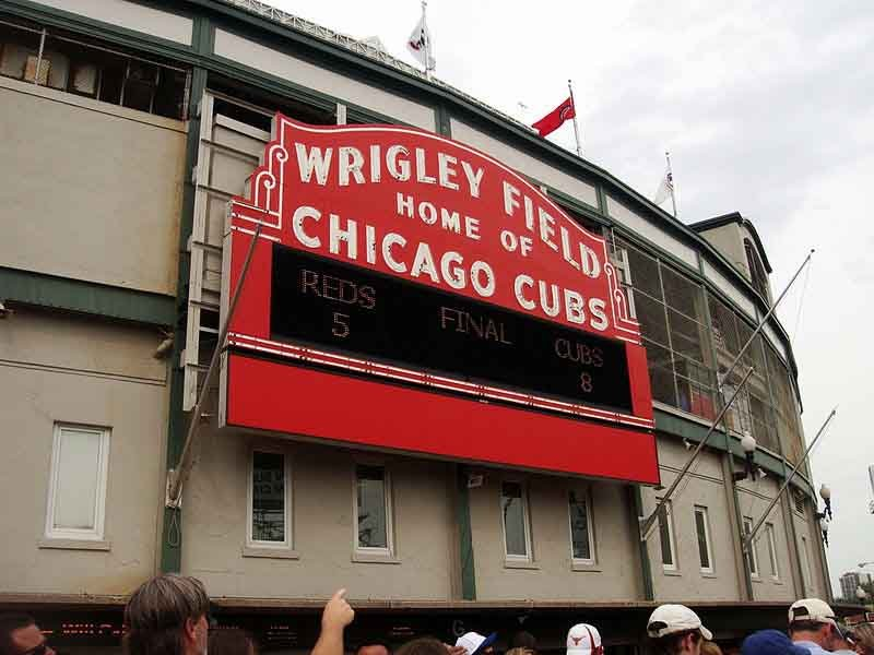 The Chicago Cubs played their first game at Wrigley Field on April 20, 1912. It was 2 years old and was known as Weegham Park. (Source: thejasonhowell/Flickr)