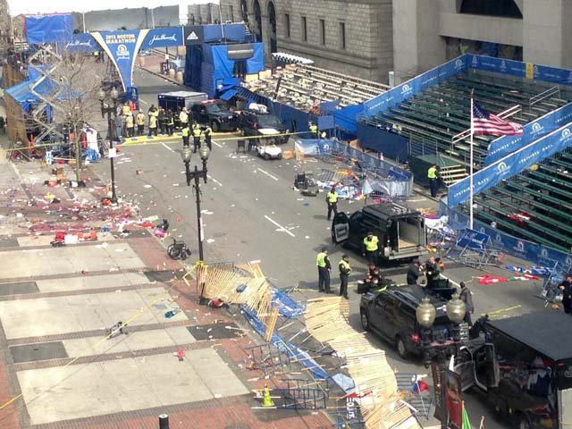 Copley Square in Boston after the explosion Monday. (Source: James Bardin)