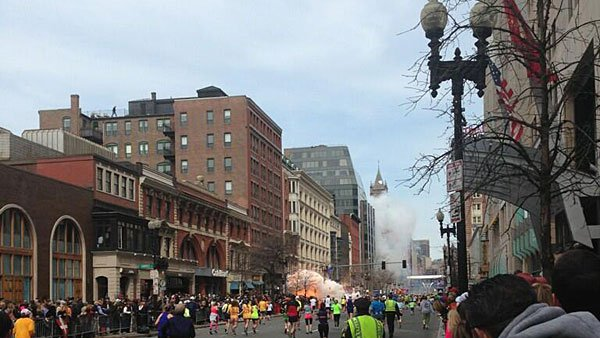 Two bombs exploded near the finish line of the Boston Marathon. (Source: Dan Lampariello/Twitter)