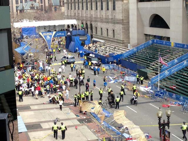Scene from Copley Square at the Boston Marathon where there were explosions at the finish line. (Source: James Bardin)