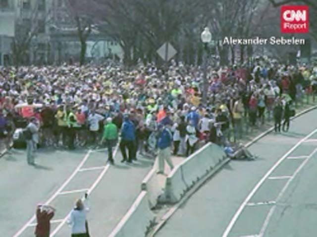 Runners were prevented from finishing the Boston Marathon after bombs exploded near the finish line.(Source: Alexander Sebelen/CNN)