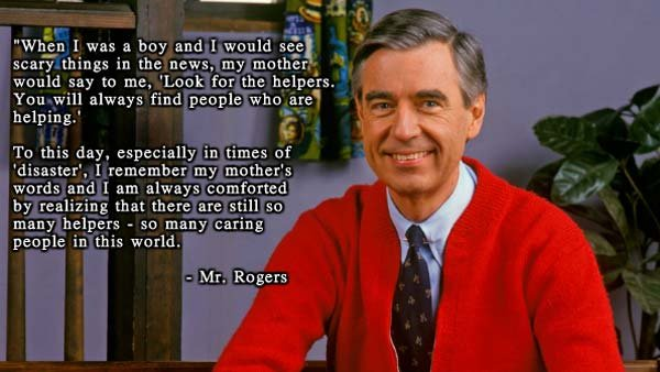 A picture of Mr. Rogers immediately started circulating on Facebook shortly after news of the Boston Marathon tragedy. (Source: Facebook)