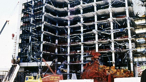 This photo taken one week after the bombing of the federal building in Oklahoma City shows the damage done by the truck bomb Timothy McVeigh planted. (Source: FEMA)