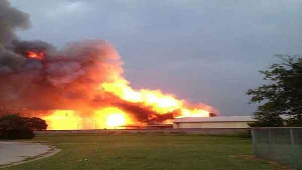 The explosion flattened 50 to 75 houses near the plant in a path of destruction of about five blocks. (Source: DFW Scanner)
