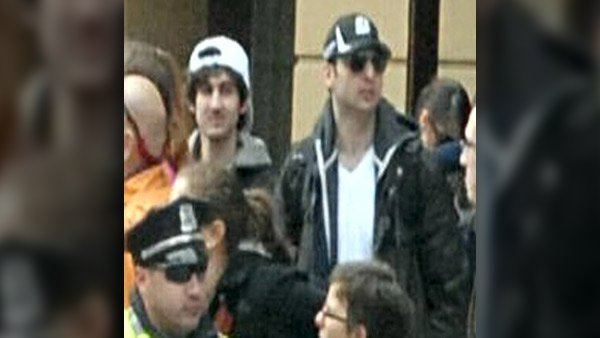 New photos released after midnight Friday morning provide greater facial definition for the two suspects wanted in connection with the Boston bombings.. (Source: FBI)