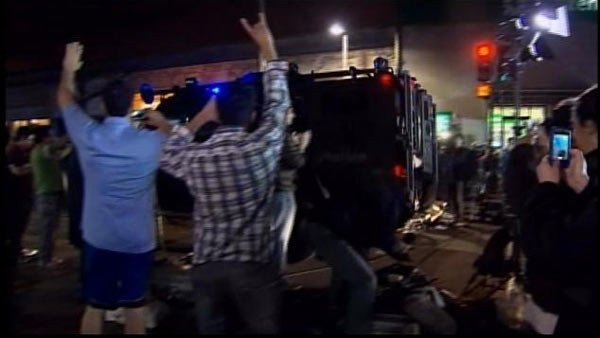 Residents of Watertown, MA, took to the streets in celebration that the second bombing suspect was captured. (Source: WCVB/CNN)