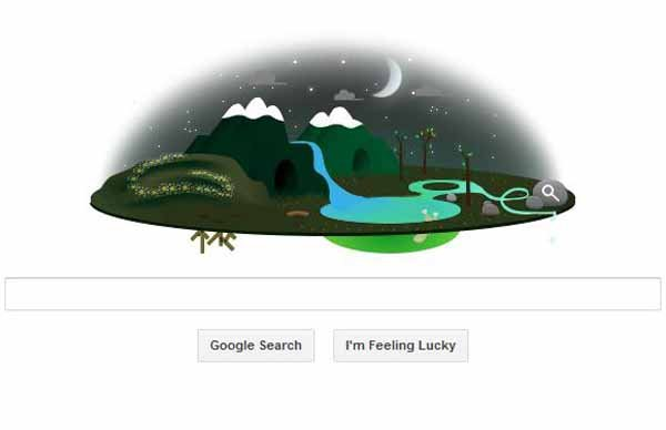 This screengrab shows Google's Earth Day doodle in one of its night cycles. (Source: Google.com)