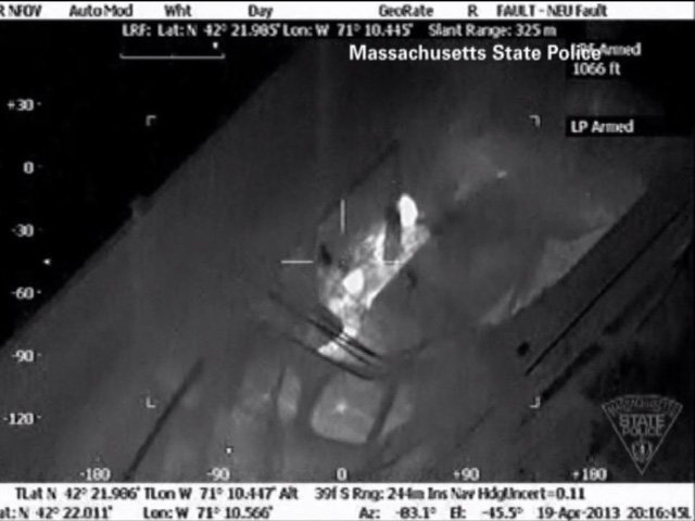 A night vision image of Dzhokhar Tsarnaev hiding in a boat before authorities took him into custody. (Source: Massachusetts State Police/CNN)