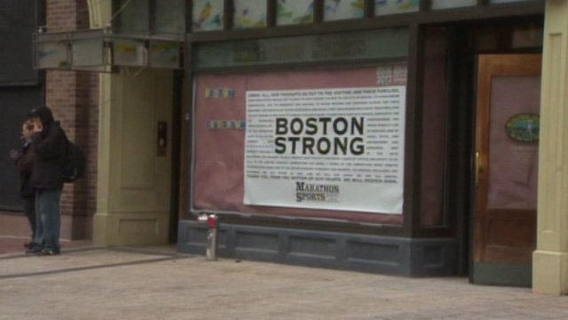 The site of the Boston Marathon bombings on Boylston Street reopened Wednesday. (Source: WHDH/CNN)
