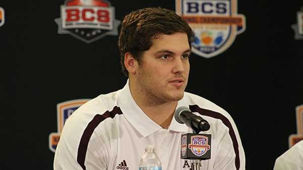 Texas A&M's Luke Joeckel, pictured here at a news conference at the BCS National Championship Game in Miami last January, is expected to be the first player taken in the 2013 NFL Draft. (Source: Matt Valazquez)