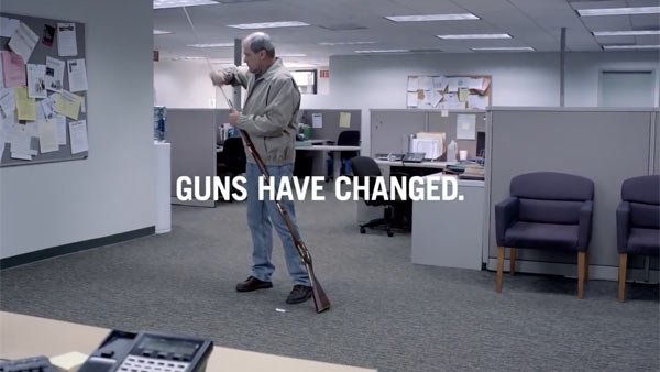 The nonprofit group States United to Prevent Gun Violence produced an advertisement on the evolution of gun control laws. (Source: YouTube)