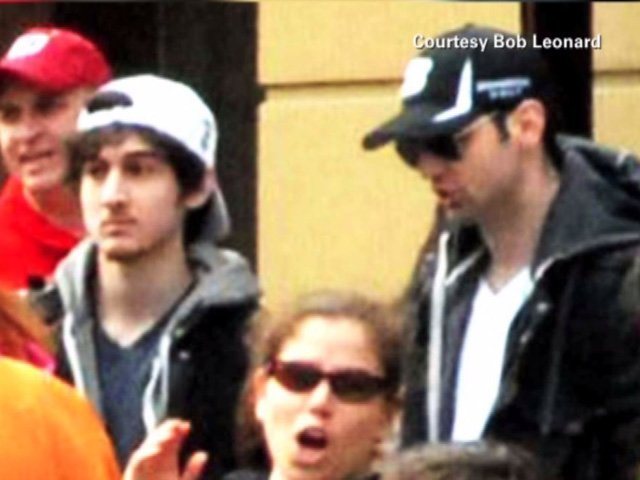Pictured are suspects No. 1 and 2, later identified as Dzhokhar and Tamerlan Tsarnaev, at the Boston Marathon prior to the explosion April 15. (Source: Bob Leonard/CNN)