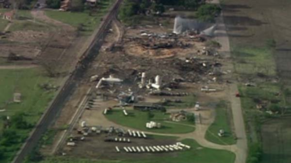 Fertilizer plant fire and explosion in West, TX left behind a giant crater. (Source: CNN)