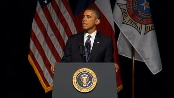 President Barack Obama speaking at the memorial service for those lost in the West, TX fertilizer plant explosion. (Source: CNN)