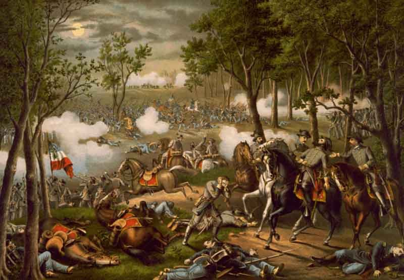 A painting depicts the Confederate victory at the Battle of Chancellorsville. (Source: Wikimedia Commons)