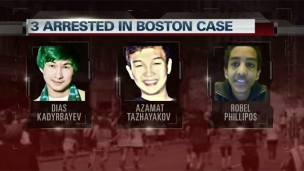The three suspects who were arrested Wednesday in connection to the Boston Marathon bombing suspect Dzhokhar Tsarnaev. (Source: CNN)