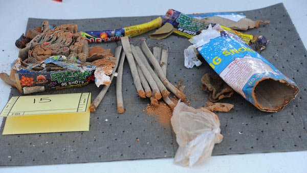 Picture of fireworks allegedly disposed of by friends of Boston bombing suspect Dzhokhar Tsarnaev. (Source: FBI)