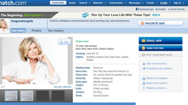 Domestic diva Martha Stewart has joined Match.com. (Source: Match.com)