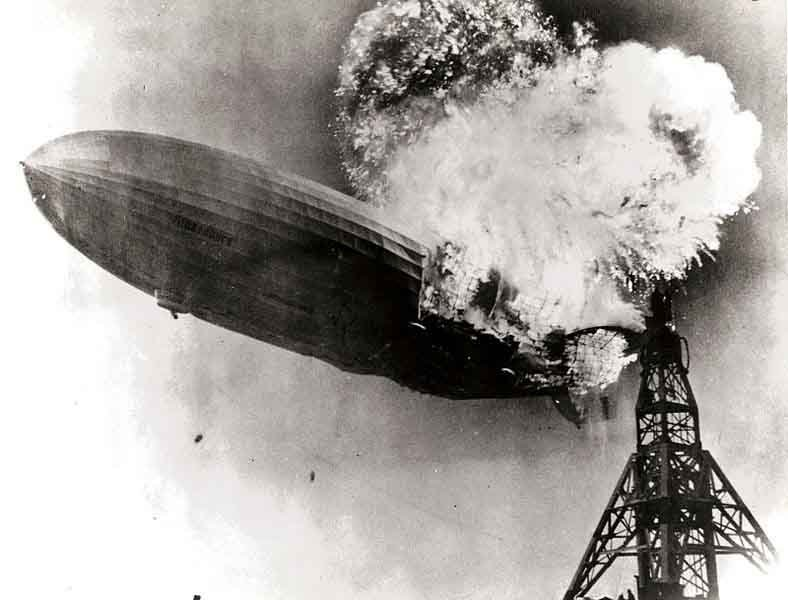 The airship Hindenburg burns just prior to landing in Lakehurst, NJ, on May 6, 1937. (Source: U.S. Navy/Wikimedia Commons)