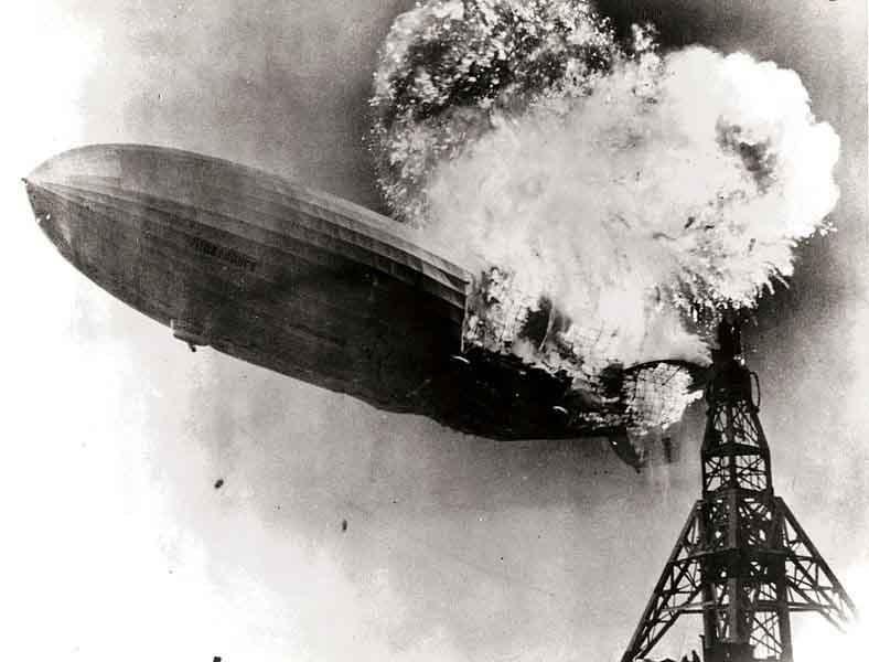 The airship Hindenburg burns just prior to landing in Lakehurst, NJ, on May 6, 1937. (Source: U.S. Navy/Wikimedia Commons)